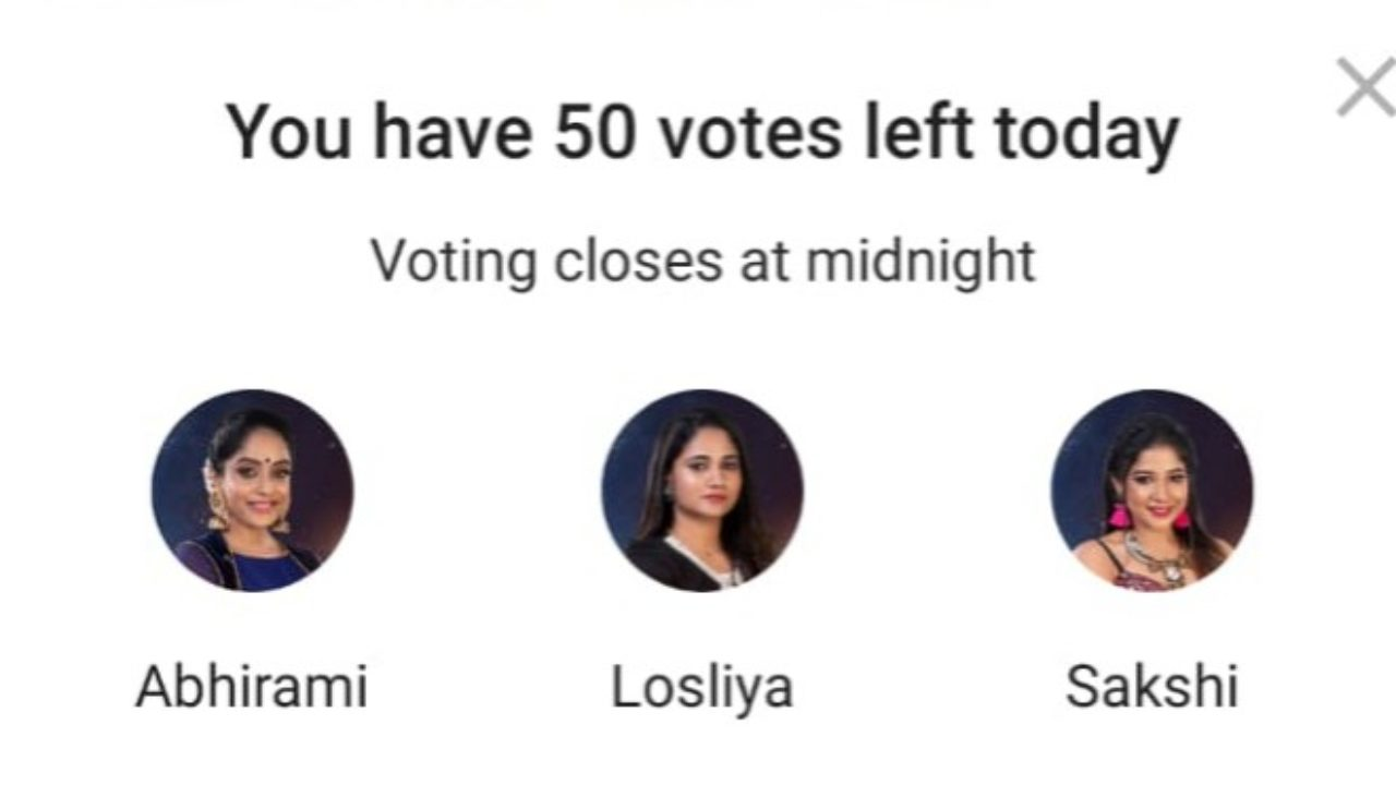 Bigg Boss Tamil Vote: Who Will Get Eliminated? Losliya