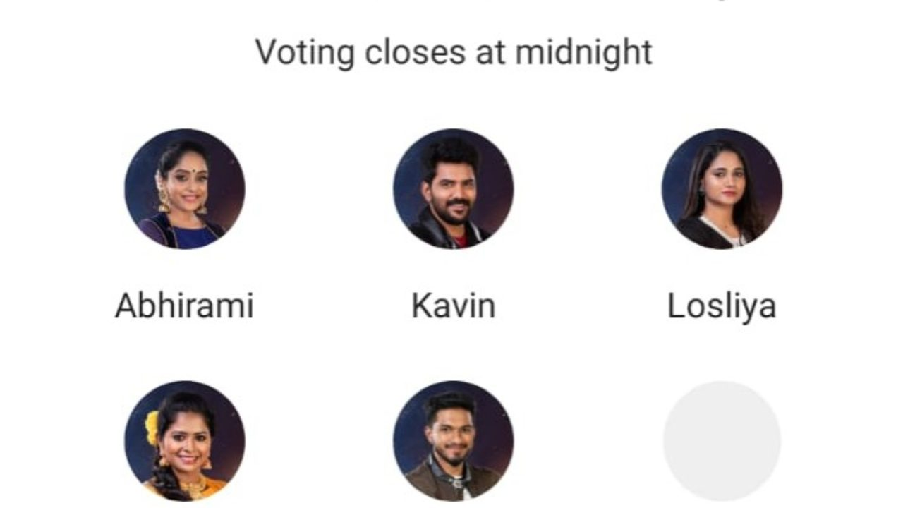 Bigg Boss Tamil Vote: Kavin, Losliya, Mugen, Abhirami and